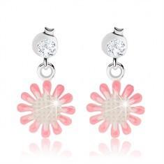 Cercei din argint 925, floare cu email alb şi roz