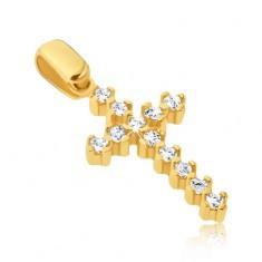 Pandantiv din aur - cruce latină alungită cu zirconii și monturi