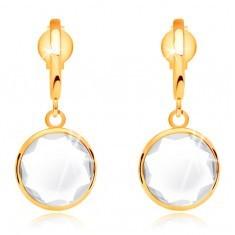 Cercei din aur de 14K - cristal rotund, transparent atârnat pe un arc îngust