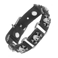 Brățară neagră fabricată din piele sintetică și oțel, cranii cu oase încrucișate