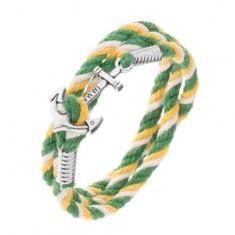 Brăţară colorată pentru mână în culori verde, galben şi alb, ancoră lucioasă de navă