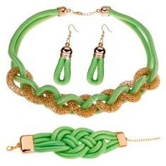 Set din colier, cercei, brățară, șnururi împletite, verde-fistic