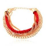 Brățară, funie roșie răsucită, lanțuri aurii, închizătoare lobster
