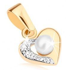 Pandantiv din aur de 8K - contur de inimă în două nuanțe, o jumătate gravată, perlă mică albă