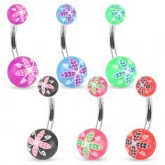 Piercing pentru buric realizat din oțel, bile colorate acrilice, motiv floral