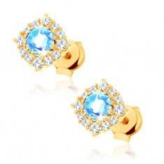 Cercei din aur 375 - contur pătrat cu zirconii, topaz rotund albastru