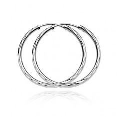Cercei argint - trei linii cu frunze gravate, 40 mm