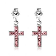 Cercei argint 925 - cruce roz cu zircon
