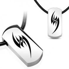 Colier pe șnur din cauciuc - simbol tribal din oțel