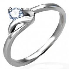 Inel de logodnă de culoare argintie,oţel de 316L,zirconiu rotund,transparent şi braţe ondulate