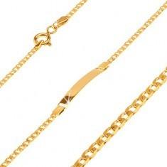 Brăţară din aur galben 14K cu plăcuţă, ochiuri ovale mici nivelate, 160 mm