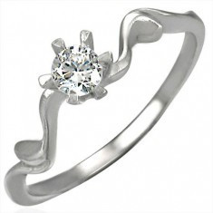 Inel de logodnă cu zirconiu ajustat frumos foto