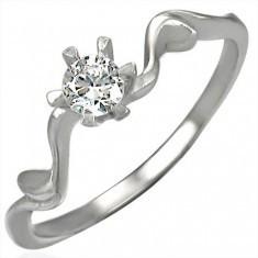 Inel de logodnă cu zirconiu ajustat frumos