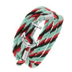 Brăţară cu şnur, în culori turcoaz, roşu şi negru, ancoră lucioasă