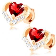 Cercei din aur galben 585 - zirconiu inimă, rubin roșu