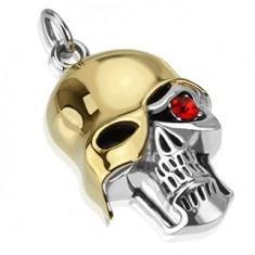 Pandantiv din oțel - craniu patinat cu cască aurie, zirconiu roșu