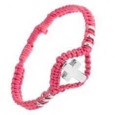 Brățară formată din șnururi roz, cercuri ornamentale și cruce realizată din oțel 304L