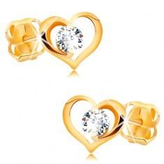 Cercei cu diamant, din aur galben de 14K - diamant transparent în contur de inimă