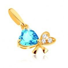 Pandantiv din aur 9K - topaz albastru, fundă din două inimi, zirconii transparente