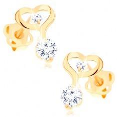 Cercei din aur galben 14K - contur de inimă cu linie alungită, zirconii transparente