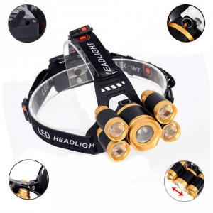 Lanterna De Cap 5 x Led ZOOM Frontala + 2x Acumulatori 18650 C248
