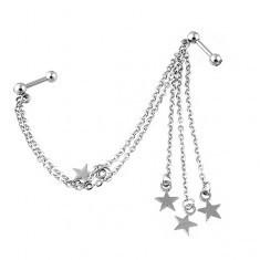 Piercing pentru ureche din oţel, cu zirconiu şi stele