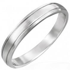 Inel bandă mată din oțel chirurgical cu două caneluri