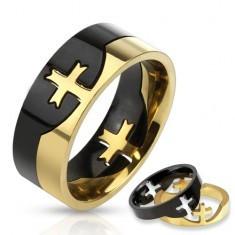 Inel negru și auriu din oțel inoxidabil cu o cruce