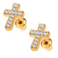 Cercei aurii, cruce latină cu ştrasuri transparente