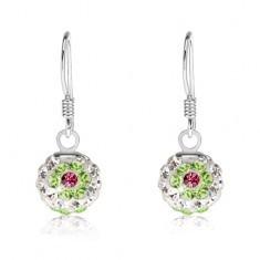 Cercei albi, argint 925, flori verzi şi roz, cristale Preciosa, 8 mm