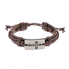 Brăţară din piele maro cu şnururi, plăcuţă ovală cu cruce gravată