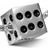 Pandantiv din oțel inoxidabil, zar mat, buline negre smălțuite