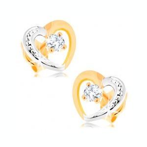 Cercei din aur 14K - contur inimă în două culori, zirconii