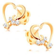 Cercei din aur 14K - contur inimă lucioasă, diamante transparente