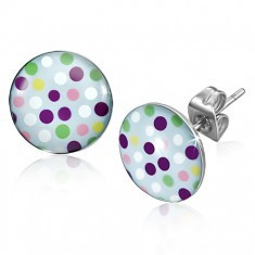 Cercei din oțel inoxidabil, buline colorate