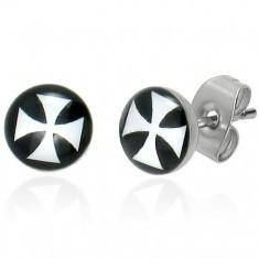 Cercei cu șurub din oțel, smalț, cruce malteză albă pe un fond negru