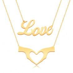Colier din aur galben 9K - lanț dublu, inscripția Love și inimă formată din două mâini