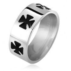 Inel din oțel de 316L, cruce Malteză, neagră, smălțuită, 6 mm