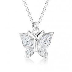 Colier din argint 925, pandantiv - model fluture încrustat cu zirconii transparente