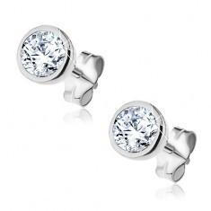 Cercei argint - zircon strălucitor în montură rotundă, 5 mm