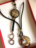 REDUCERE-SET bijuterii-TIP PANDORA-BRATARA + COLIER-placat cu aur 18k