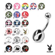 Piercing pentru buric din oțel, imagini colorate cu iepurași Playboy