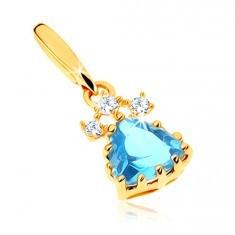 Pandantiv strălucitor din aur galben 9K - triunghi topaz albastru, zirconii transparente