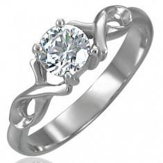 Inel de logodnă cu zirconiu și fundă curbată din oțel