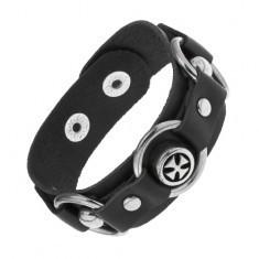Brățară din piele sintetică de culoare neagră, cercuri lucioase din oțel, cruce Malteză
