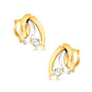 Cercei din aur 14K, bicolori - trei linii ondulate, diamant rotund, strălucitor