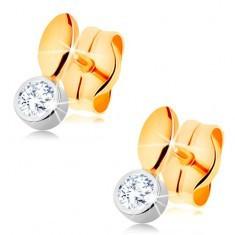 Cercei cu șurub realizați din aur de 14K - bicolori, bob mic și zirconiu în montură