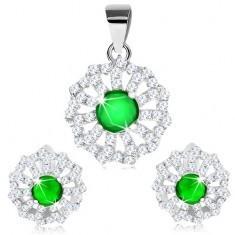 Set pandantiv și cercei, argint 925, petale din zirconiu transparent și mijloc verde