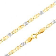 Lanț din aur - zale plate în două culori cu raze canelate, 500 mm