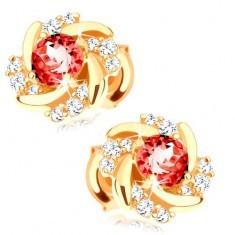 Cercei cu șuruburi din aur 585 - floare formată din rubin roșu, petale răsucite